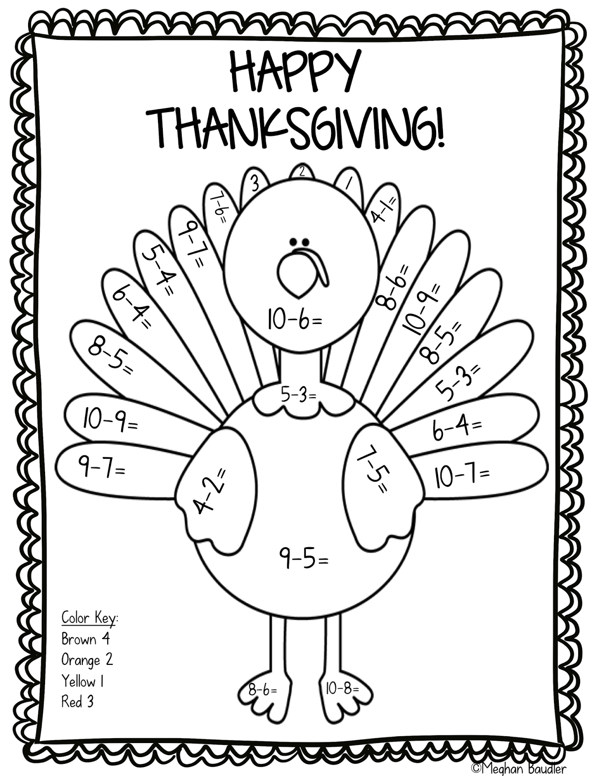 17 Printable Color By Number Turkey KittyBabyLove