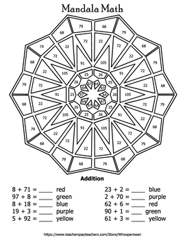 Addition Mandala Math Color By Number Bundle By