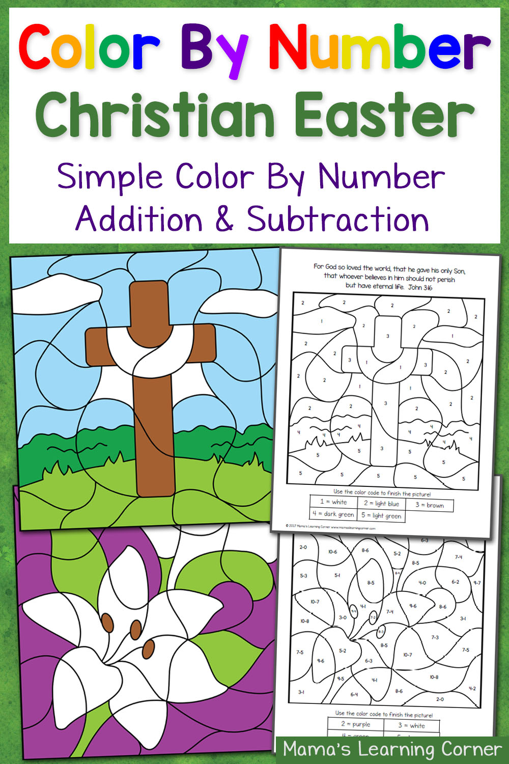 Christian Easter Color By Number Worksheets Mamas