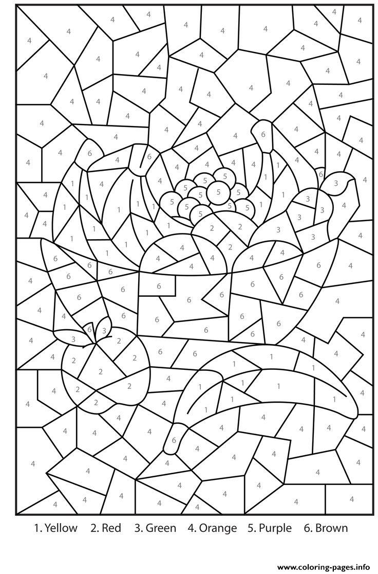 Color By Number For Adults Fruits Printables Coloring