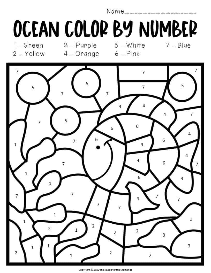 Color By Number Ocean Preschool Worksheets Under The Sea