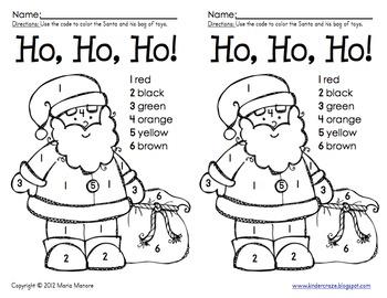 Color By Number Santa By Maria Gavin Teachers Pay Teachers