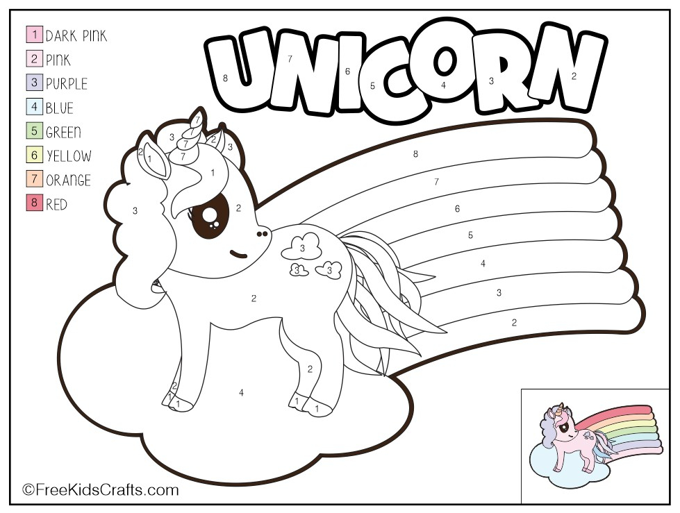 Color By Number Unicorn Printable