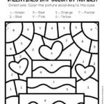 Color By Number Valentine s Day Preschool Worksheets Cake