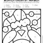 Color By Number Winter Preschool Worksheets Penguin The