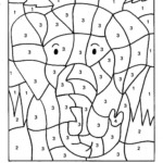 Color By Numbers African Elephant Coloring Pages Printable