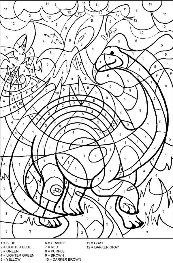 Color By Numbers Dinosaur Coloring Sheets