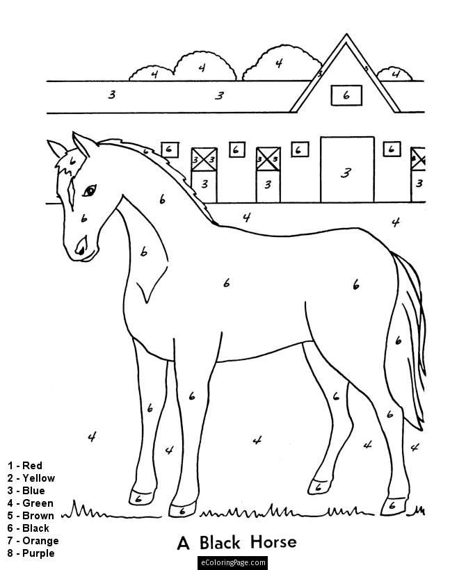 Color by numbers horse and stable coloring pages for kids