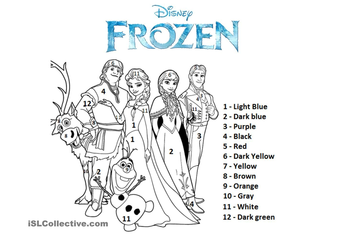 Color By The Number Frozen kolka