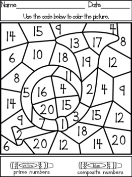 Color It Color By Number Prime And Composite Numbers 1 20