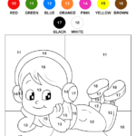 Color The Child By Numbers Worksheet Turtle Diary