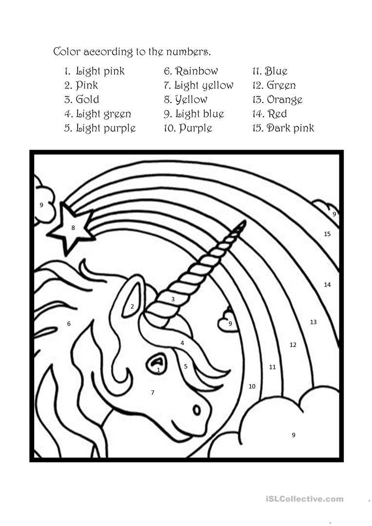 Color The Unicorn According To The Numbers English ESL