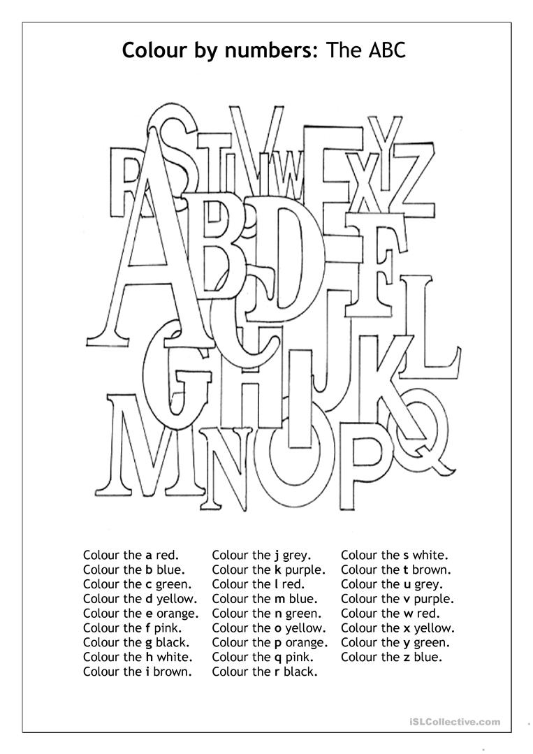 Colour By Number The ABC Worksheet Free ESL Printable