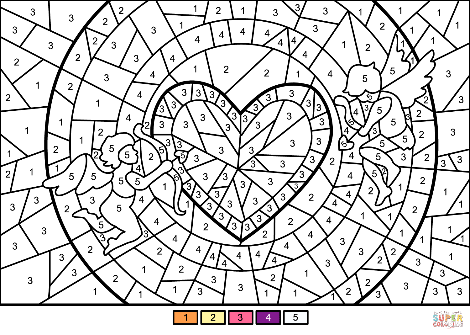 Cupids And Heart Color By Number Free Printable Coloring