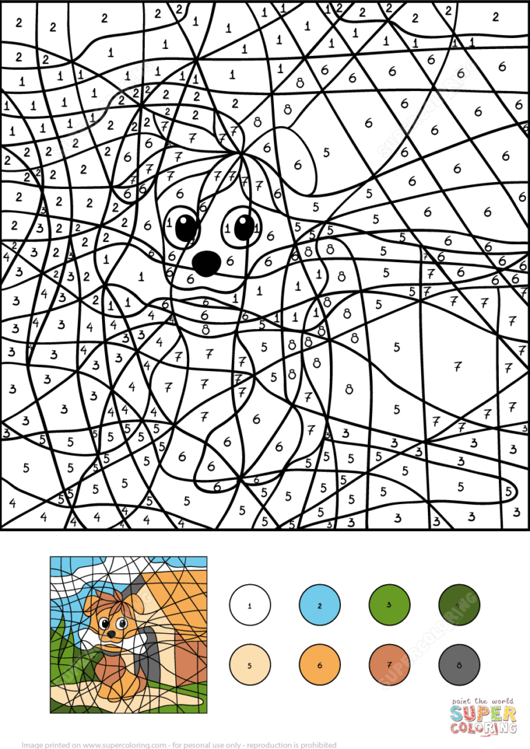 Dog Color By Number Free Printable Coloring Pages