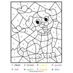 DOG Color By Number Math Coloring Worksheet Sparkling Minds