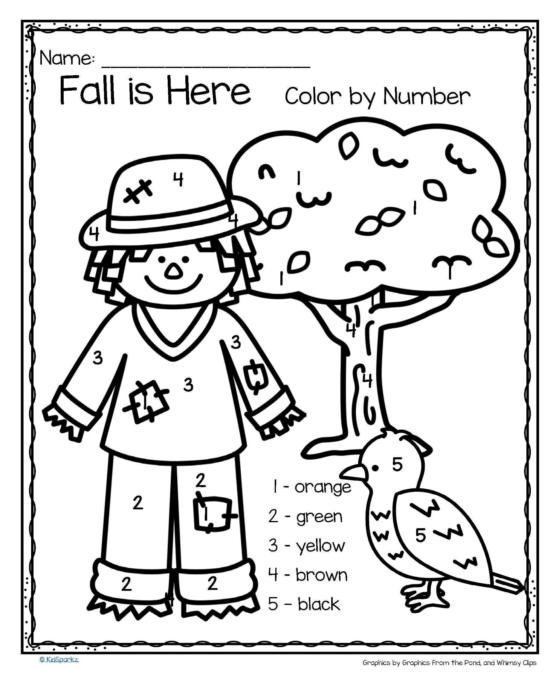 FREE 3 Fall Related Color by number Printables