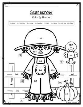 FREEBIE Scarecrow Color By Number By Laurie Gibbons TpT