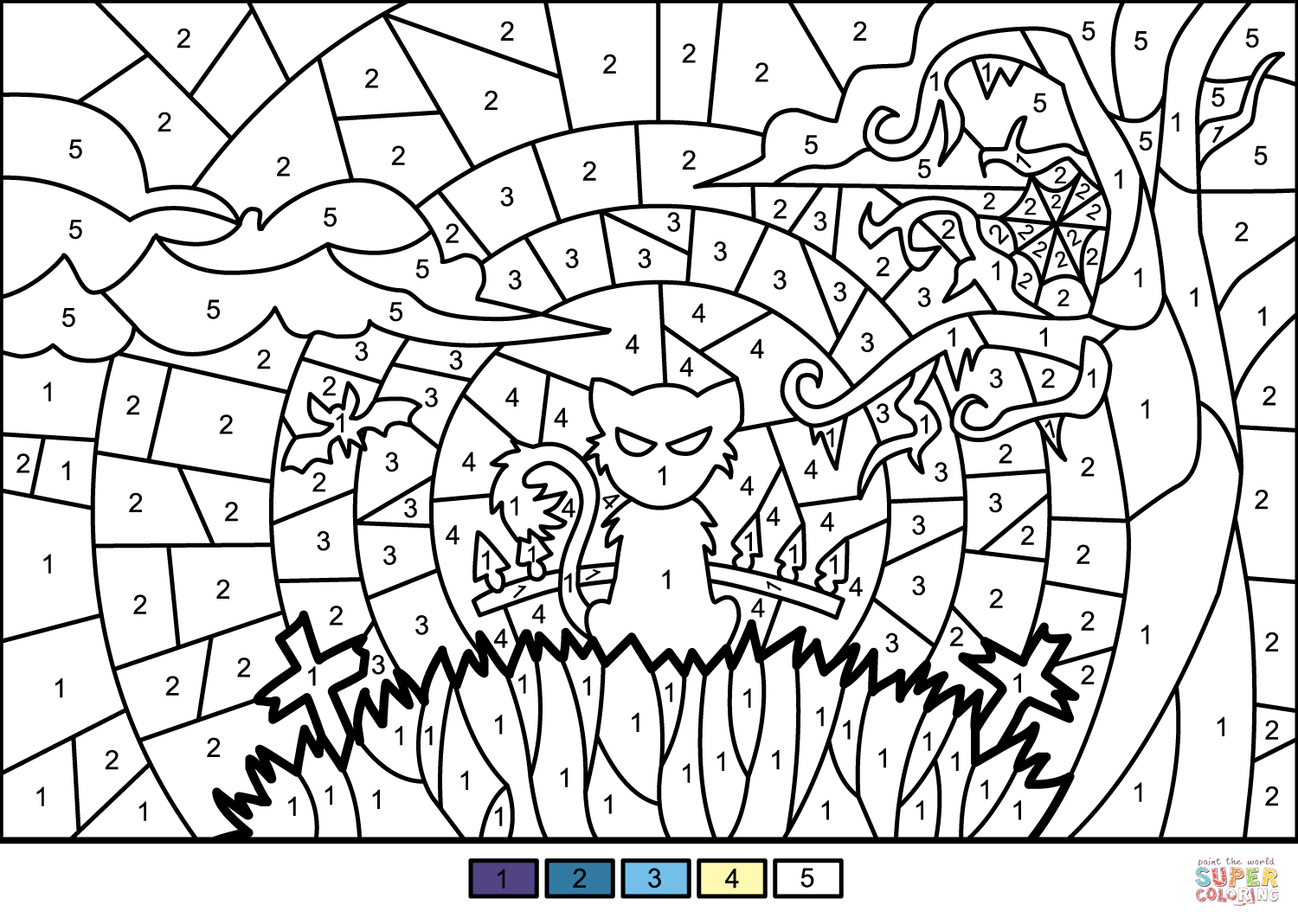 Halloween Scene Color By Number Free Printable Coloring