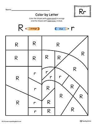 Lowercase Letter R Color by Letter Worksheet
