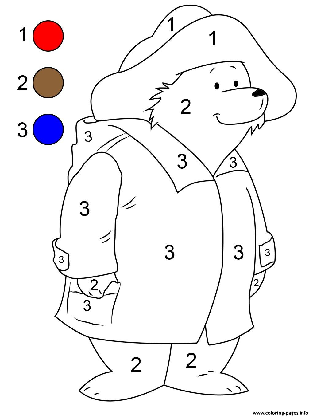 Paddington Bear By Number Coloring Pages Printable