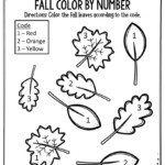 Preschool Worksheets Fall Color By Number Leaves The