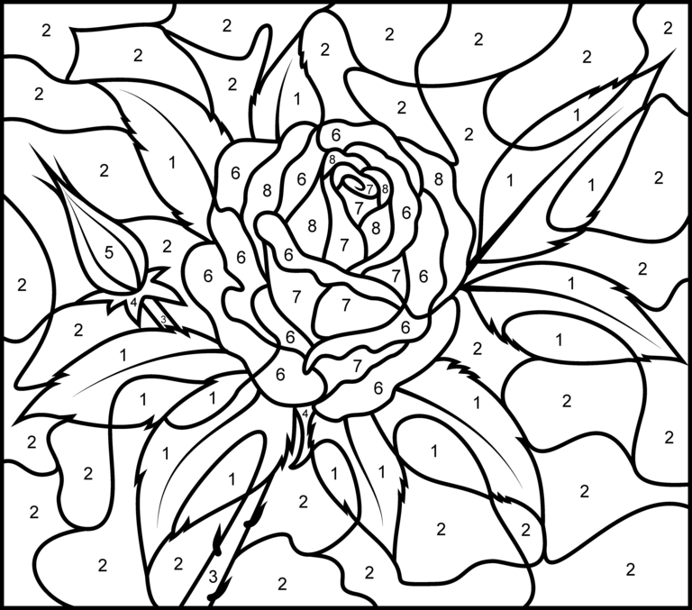 Rose Printable Color By Number Page Hard Rose
