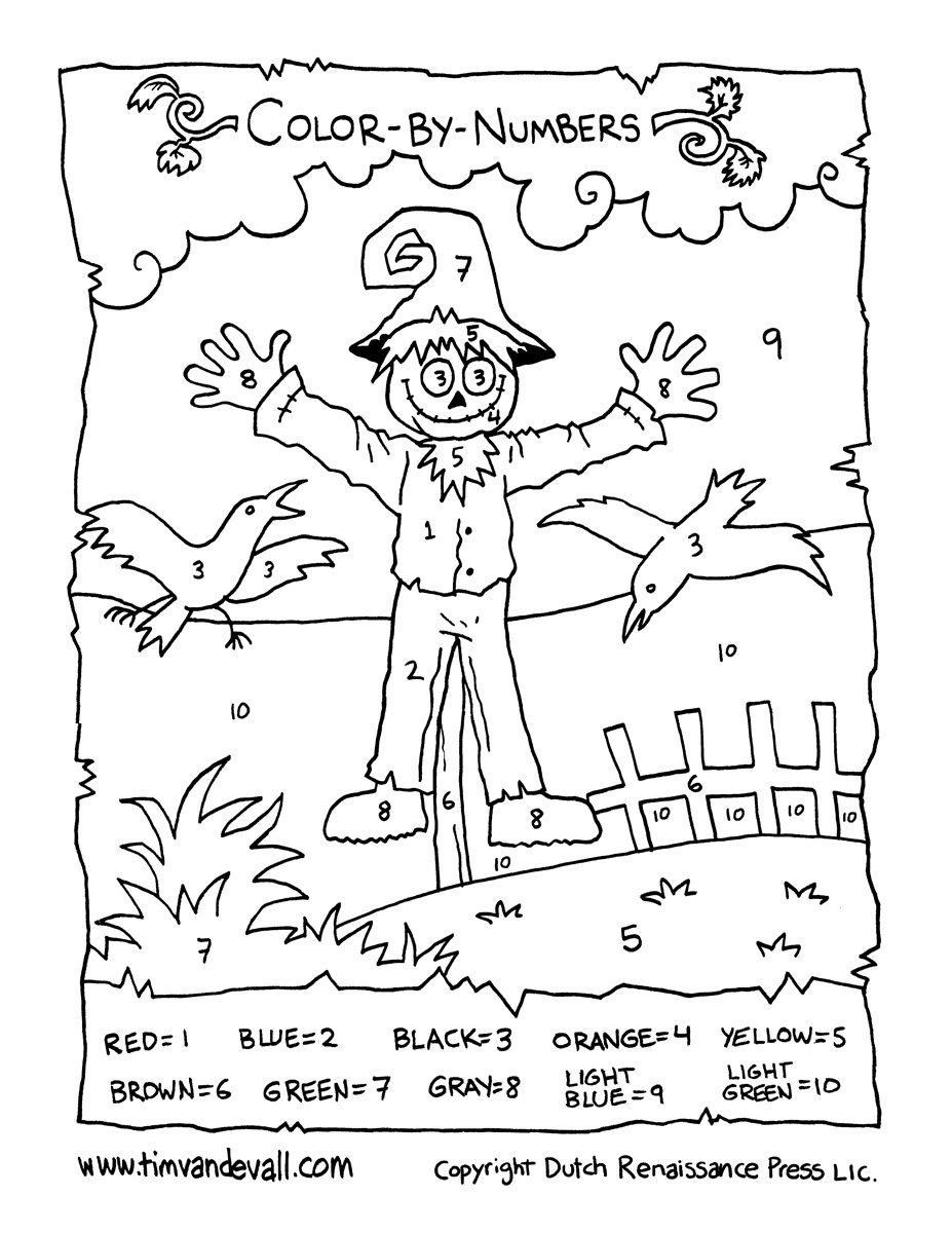 Scarecrow color by numbers Tim s Printables