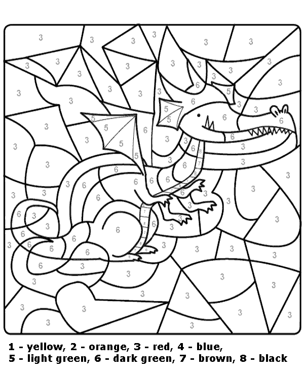Simple Dragon Color By Number Worksheet