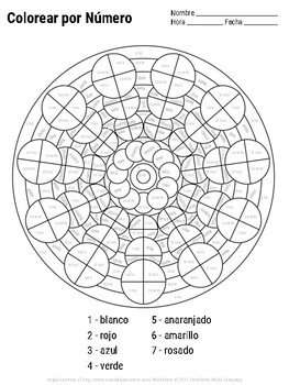 Spanish Color By Number Mandala Coloring Pages TpT