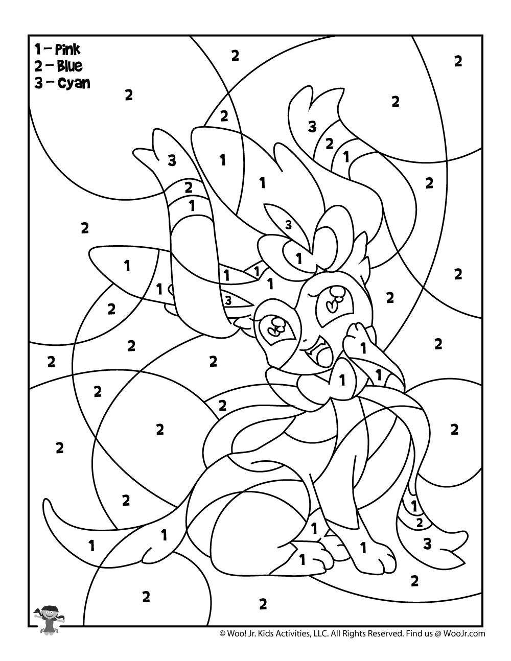 Sylveon Pokemon Color By Number Printable Woo Jr Kids