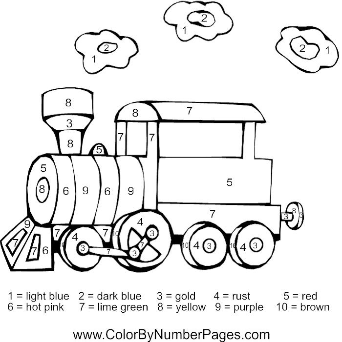 Train Color By Number Page With Images Colorful