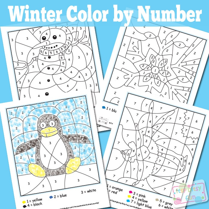 Winter Color By Numbers Worksheets Itsybitsyfun