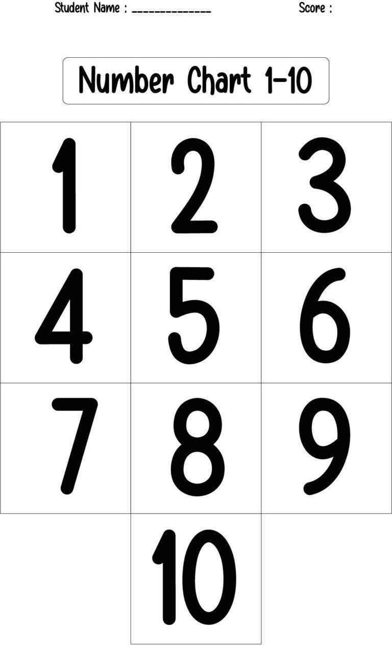 10 Best Numbers 1 10 Chart Preschool Printables