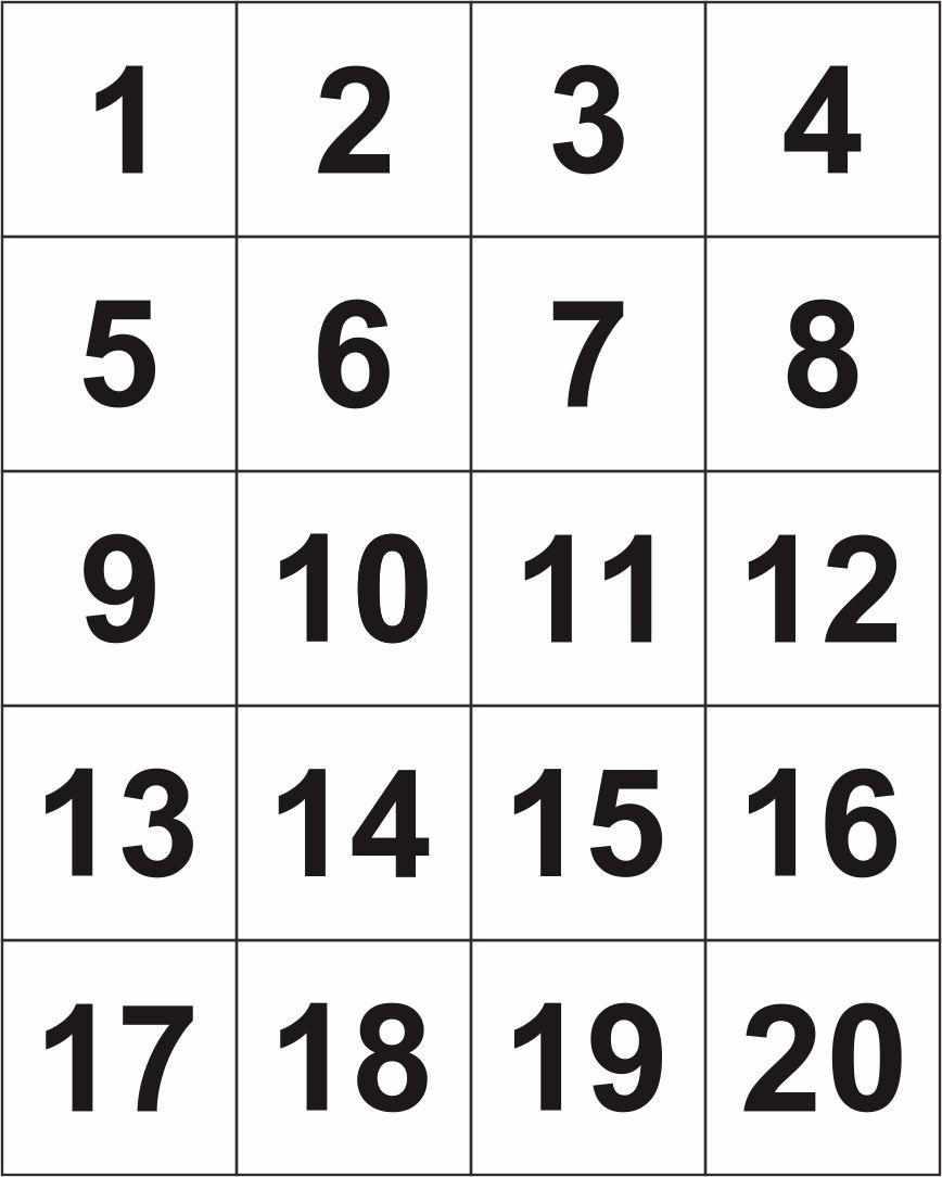 4 Best Large Printable Number Cards 1 20 Printablee