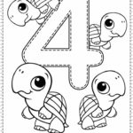 4 Worksheet Count Color Trace To Number 4 Preschool