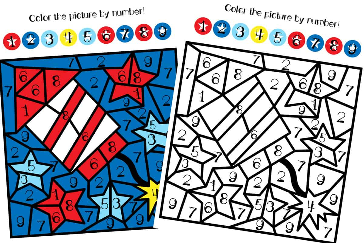 4th Of July Color By Number Printable Views From A Step