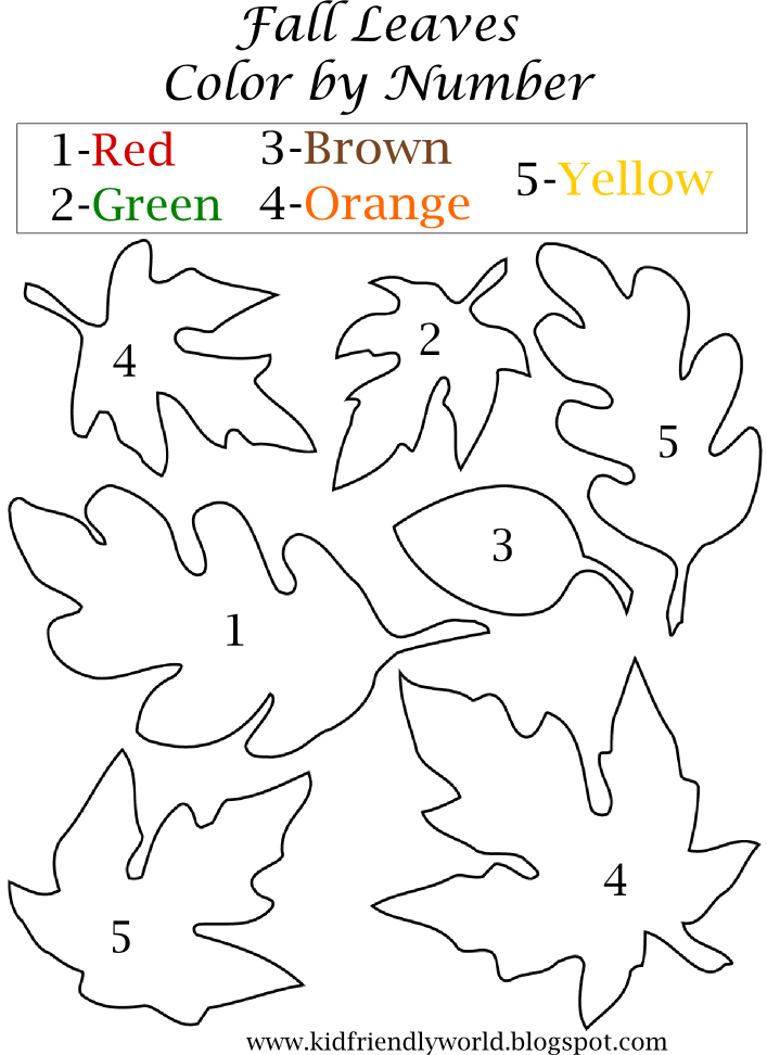 A Kid Friendly World Fall Leaf Color By Number Worksheet