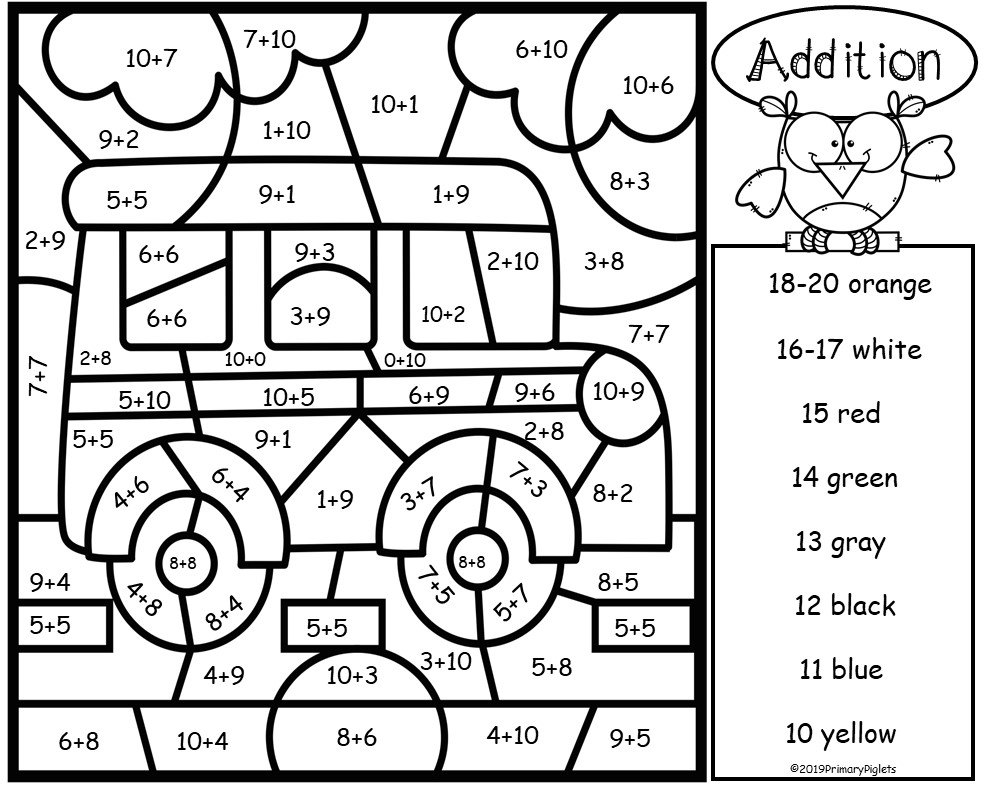 Addition Color By Number Back To School Addition Facts