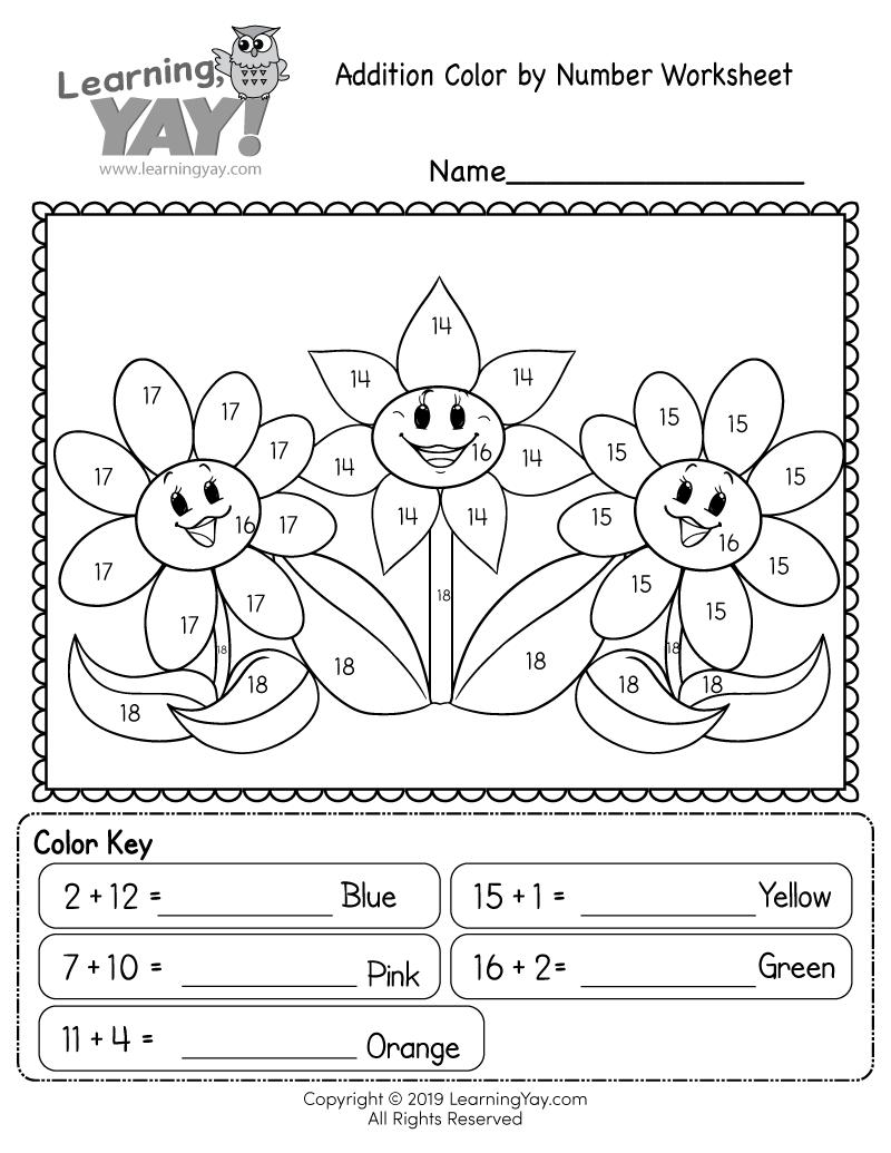Addition Color By Number Worksheet For 1st Grade Free