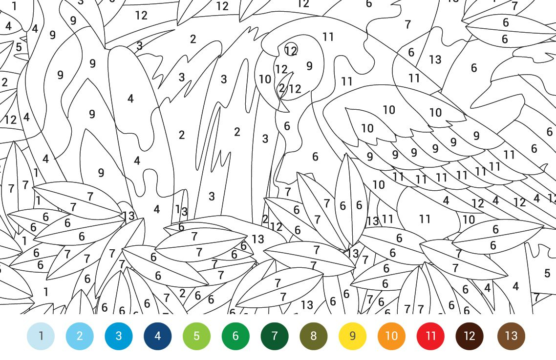 Animals Colouring By Numbers Free Pattern Download
