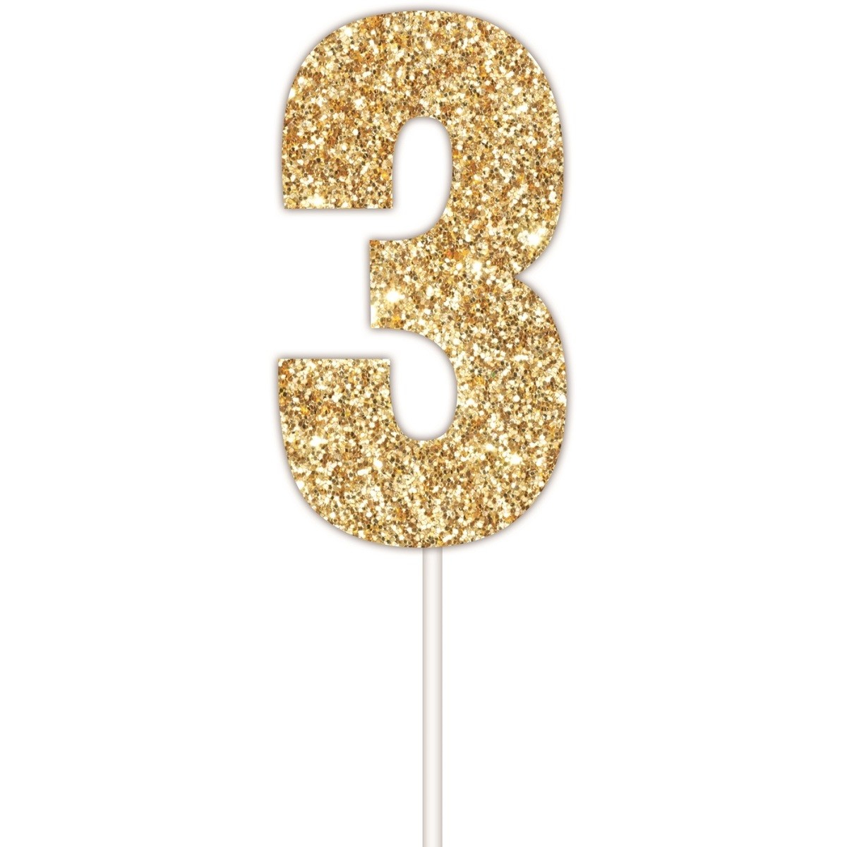 Artwrap Number 3 Glitter Cake Topper Gold BIG W