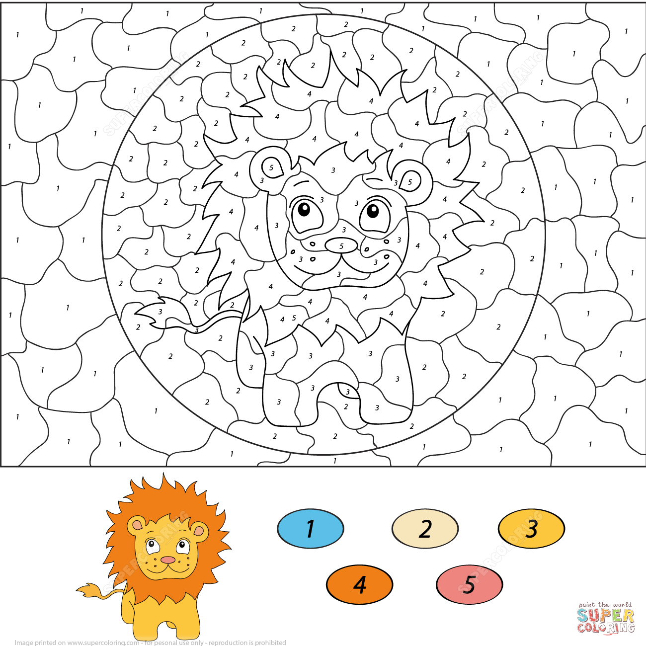 Cartoon Lion Color By Number Free Printable Coloring Pages