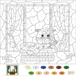 Cat Color By Number Free Printable Coloring Pages