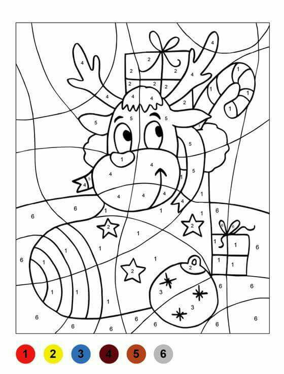Christmas Reindeer Color By Number Sheets For Kids