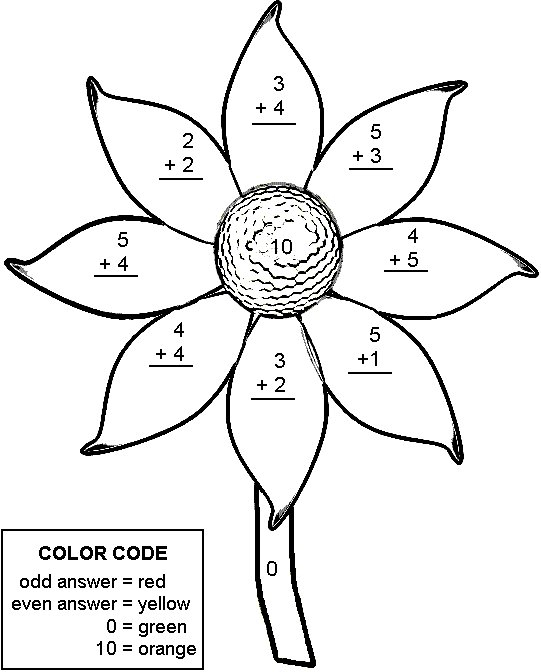 Color By Number Addition Best Coloring Pages For Kids