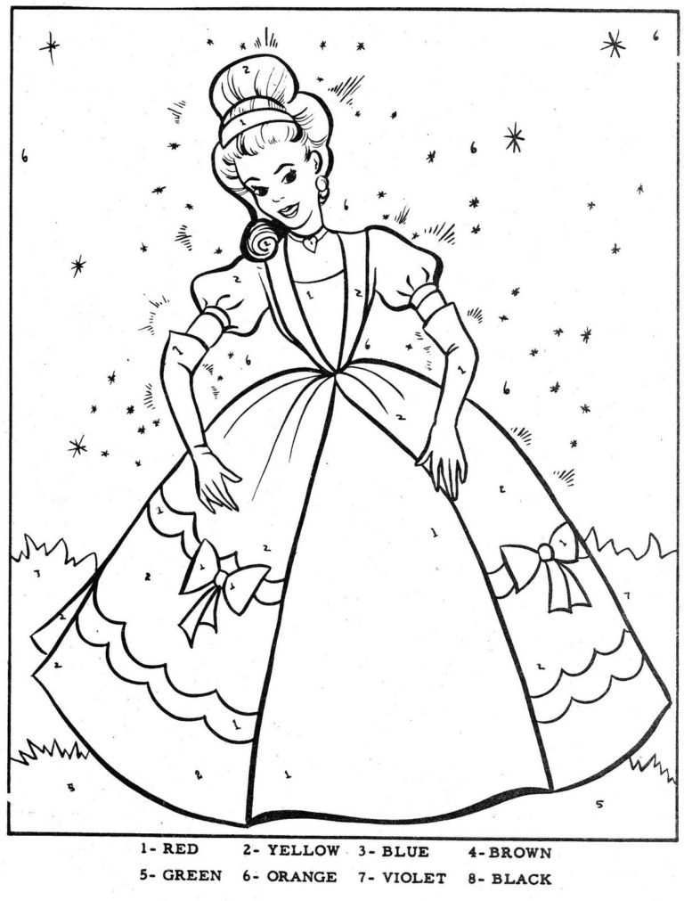 Color By Number Cinderella Mermaid Coloring Pages