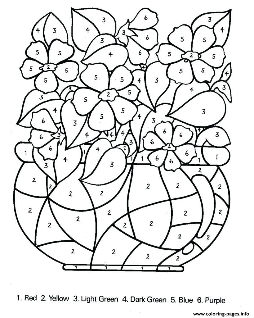 Color By Number Difficult In For Adults Coloring Pages