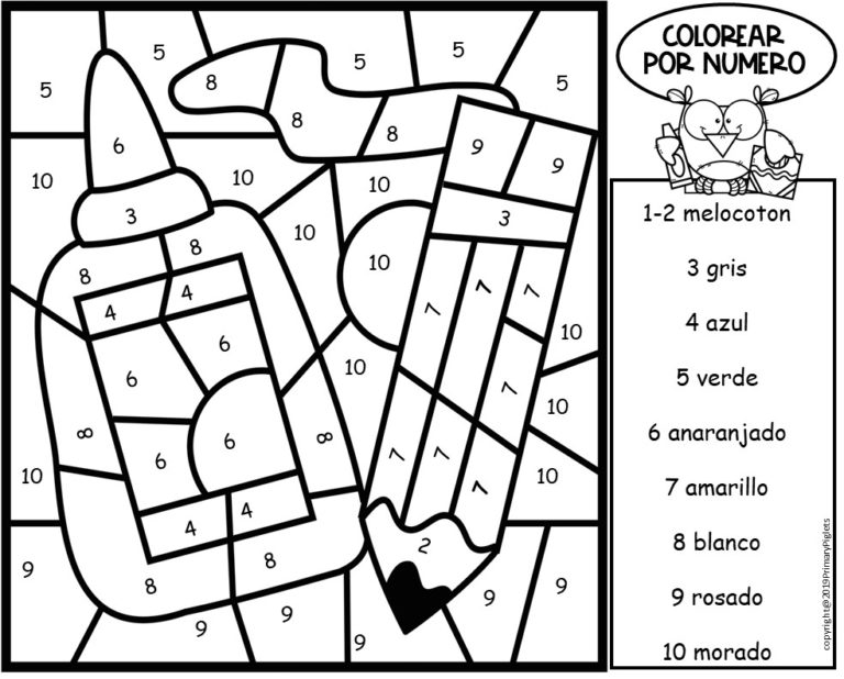 Color By Number In Spanish Spanish Color By Number