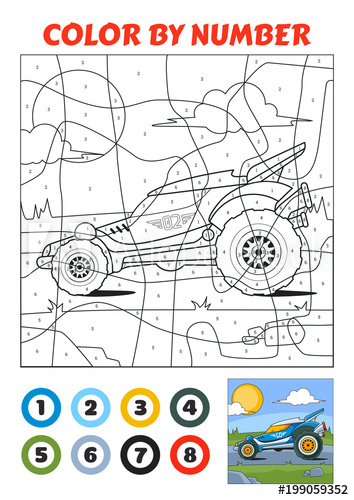 Color By Number Is An Educational Game For Children Blue